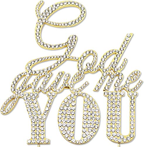 (God Gave Me You Cake Topper, Religious Wedding Anniversary Engagement Decorations, Crystal Rhinestone Gold)