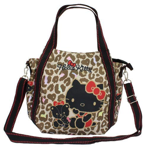 38a06962643e Image Unavailable. Image not available for. Colour  MARUSHIN Sanrio Tote Bag  Hello Kitty Black with Leopard Pattern 4612