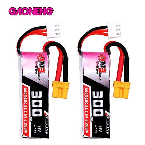 - GAONENG GNB 300mAh 2S LiPo Battery 80C/160C HV 7.6v XT30 Connector, 2Packs 2S LiPo for Beta 75X Drone Micro FPV Racing Drone Brushless Quadcopter