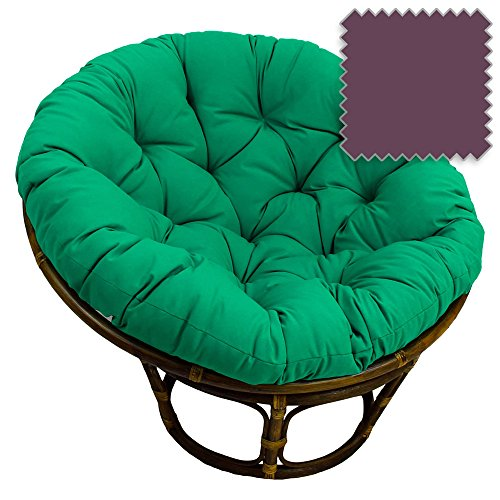 42-Inch Bali Rattan Papasan Chair with Cushion - Solid Twill Fabric, Grape - DCG Stores Exclusive