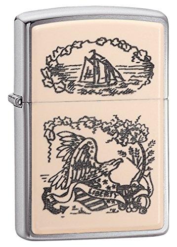 Zippo Ivory Scrimshaw Liberty Eagle Chrome Pocket Lighter