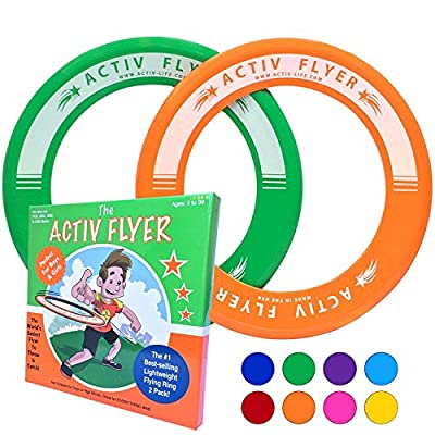 """Best Kid's Frisbee Rings [2 PACK] Fly Straight & Don't Hurt - 80% Lighter Than Standard Frisbees - Replace """"Screen Time"""" with Healthy Family Fun Time - Get Outside & Play! - Made in USA"""