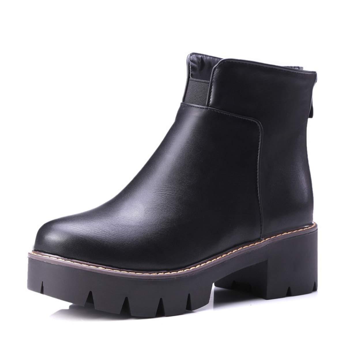 Adong Donna Martin Stivali Stivali di Mezza Neve Scarpe Piatte Muffin Bottom Scarpe Scarpe Spesse Lady Wild per Lo Shopping o Il Partito,nero,38EU