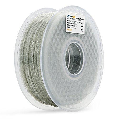 AMOLEN PLA Filament 1.75mm, Shiny Silver, 3D Printer Filament 1KG(2.2lb) +/-0.03 mm, Includes Sample Glow in The Dark Green Filament.