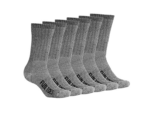 FUN TOES Women Thermal Merino Wool Socks 6 Pairs Mid Weight Reinforced Size 9-11 (Mid Thermal Sock)