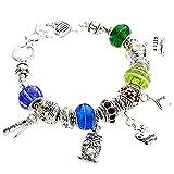 Rosemarie Collections Silver Tone Best Teacher Beaded Charm Bracelet