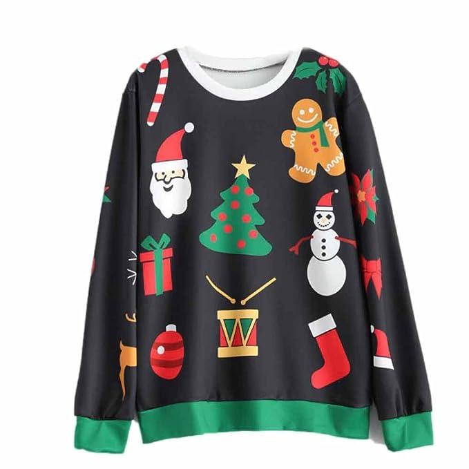 Hengshikeji Womens Christmas Long Sleeve Sweatshirt Hooded Pullover Tops Blouse Tunic Tops at Amazon Womens Clothing store: