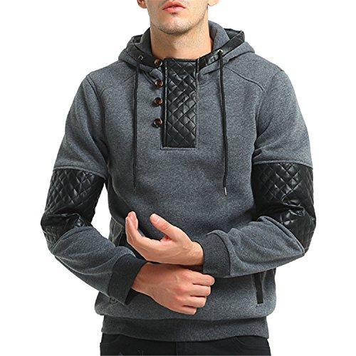 a49132eea spyman Fashion Brand NEW Hoodie Patchwork Leather Hoodies Men Fashion  Tracksuit Male Sweatshirt Off White Hoody
