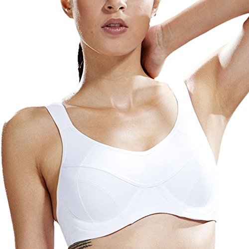 Yvette Magic Gel-Underwire Sports Bra #6011, White, (Magic Underwire)