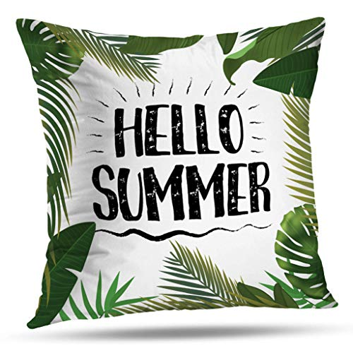 (Geericy Sunshine Art Decorative Throw Pillow Covers, Hello Summer Time Wallpaper Fun Party Background Picture Art Design Travel Poster Event Cushion Cover 18X18 Inch for Bedroom Sofa )