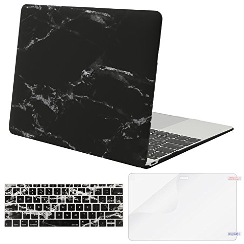 MOSISO Plastic Pattern Hard Case & Keyboard Cover & Screen Protector Compatible with MacBook 12 inch with Retina Display (Model A1534, Release 2017 2016 2015), Black Marble