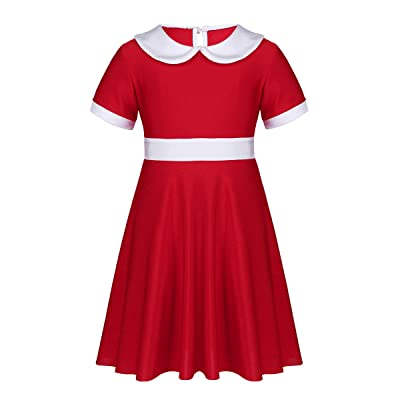 TiaoBug Kids Girls White Collar Christmas Xmas Holiday Party Dress Costume Movie A-Line Shirt-Dress: Clothing