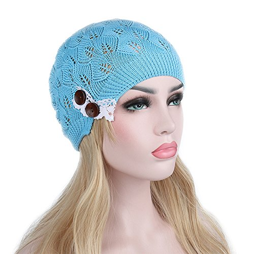 Cap BaronHong Beanie Mujeres cielo Hat hojas azul Skully Crochet Hollow qqwvUY