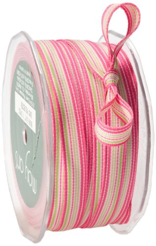 May Arts 3/8-Inch Wide Ribbon, Pink and Parrot Green Grosgrain Stripes by May Arts