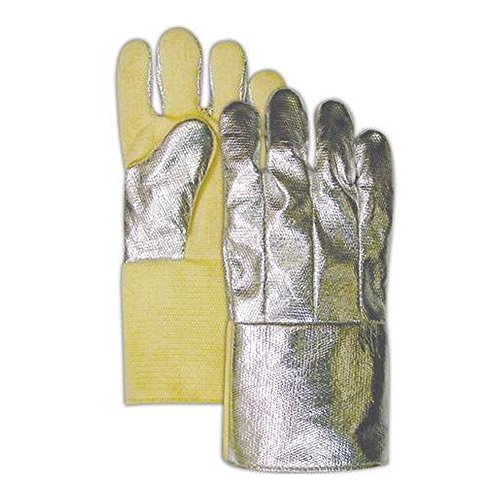 Magid Glove & Safety DJXG1298C Grain Leather Palm Glove with Aluminized Leather Backing, Large, Aluminized/Yellow