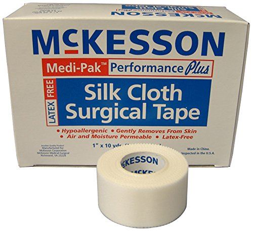 McKesson 16-47110 Medi-Pak Performance Plus Silk Cloth Surgical Tape, 1'' Width, 10 yd. Length, 1'' Width, 360'' Length (Pack of 144) by McKesson