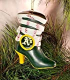 "Evergreen Oakland A's Team Boot Resin Ornament 3"""