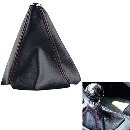 Dewhel Jdm Universal Black PVC Manual Shift Boot Black W/Red Stitching Shift Gear Cover ()