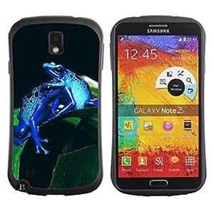 Exotic-Star Hybrid Heavy Duty Shockproof iFace Fundas Cover Cubre Case para Samsung Galaxy Note 3 III / N9000 / N9005 ( Enfriar azul de neón de la selva Ranas )