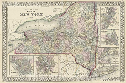 - Historic Map | County Map of The State of New York, 1870 | Vintage Poster Art Wall Décor | 24in x 16in