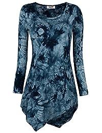 DJT Womens Tie Dyed Hankerchief Hemline Tunic Top Small #17 Navy