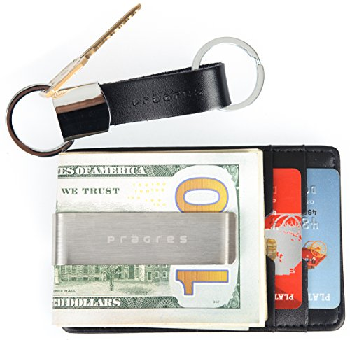 Genuine Leather Front Pocket Money Clip Wallet Gift Set With Keychain ()