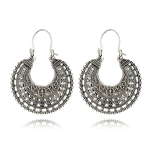 Bohemian Round Circle Moon Hoop Earring Bronze Tone Gift For Women Girl Charm Jewelry by Mrsrui