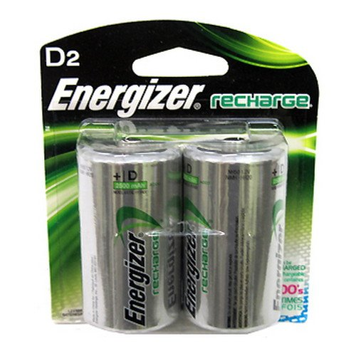 Eveready e2 NiMH Rechargeable Batteries, D, 2pack (12 Count)