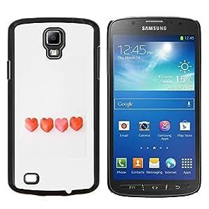 KLONGSHOP // Cubierta de piel con cierre a presión Shell trasero duro de goma Protección Caso - valentines candy corazón el amor limpio gris - Samsung Galaxy S4 Active i9295 //