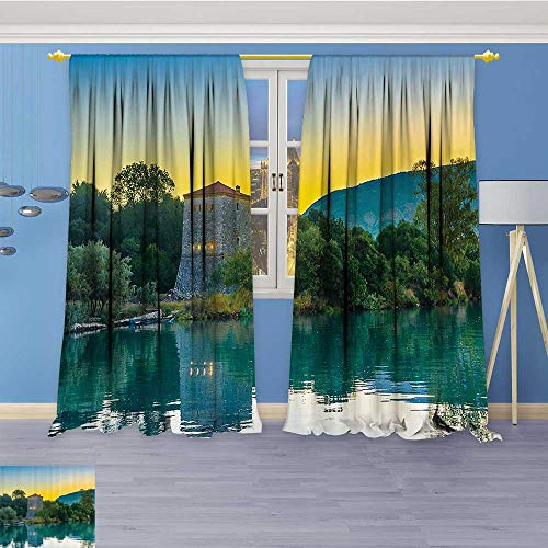 Thermal Weaved Blackout Curtain,Venetian Tower Archaeological Site and Natial Park Sunrise Lake Sanctuary Landsc Room Darkening & Noise Reduction Fabric - Premium Draperies, 108W x 108L (Landsc Fabric)