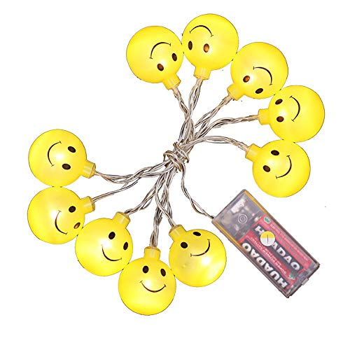 Glumes Decorative Smiley Face Lights, Easter Fairy String Lights Warm Yellow Battery Operated 1.2M(3.9ft) 10 LEDs for Indoor Outdoor Gardens,Home,Bedroom,Wedding,Xmas Birthday Party by Glumes (Image #5)