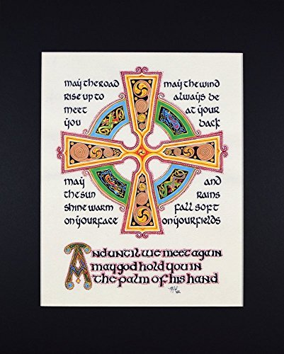 Irish Blessing Fine Art Print Reproduction with Celtic Cross
