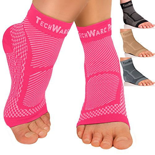 TechWare Pro Ankle Brace Compression Sleeve - Relieves Achilles Tendonitis, Joint Pain. Plantar Fasciitis Foot Sock with Arch Support Reduces Swelling & Heel Spur Pain. Injury Recovery for (Foot And Ankle Braces)