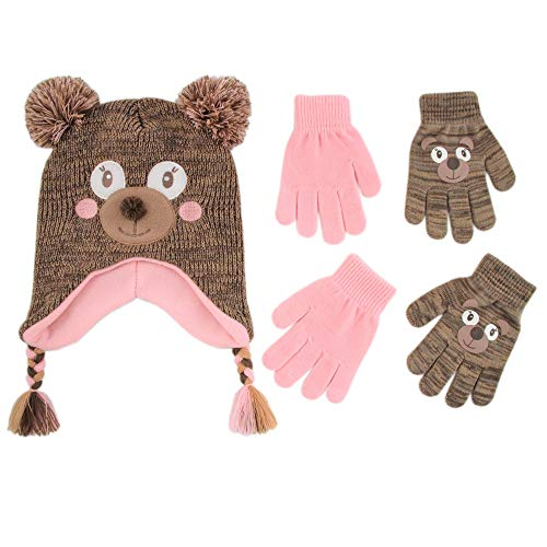 ABG Accessories Assorted Critter Designs Hat and 2 Pair Gloves or Mittens Cold Weather Set, Little Girls Ages 2-7 (Bear Design - Age 4-7 Gloves Set)