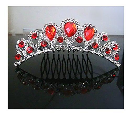 UDORA Flower Girl Crystal Tiara Kids Crowns Hair Jewelry Rhinestone Princess Headband for Wedding Party (Red) -