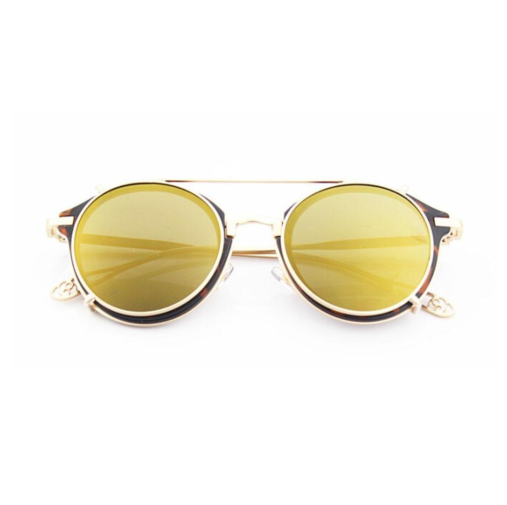 Z&YQ Gafas de sol nueva personalidad doble gafas de color retro clip de clip redondo masculino y femenino marea gafas de sol , yellow Z&YQ sports