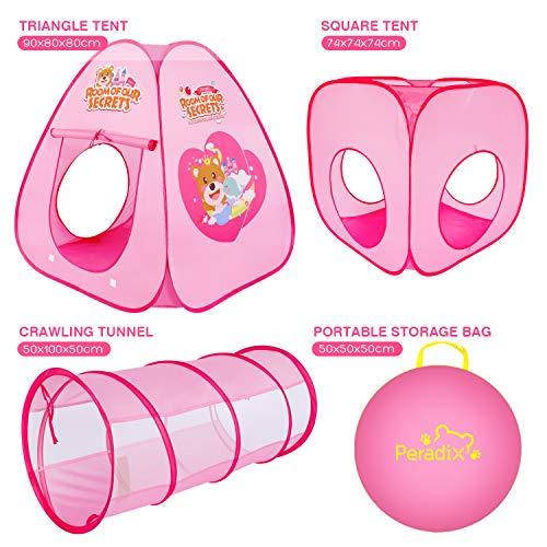 Peradix Tenda da Gioco,3 in 1 Pop Up di Tenda e Tunnel da Gioco Bambini Tenda Giocattolo Tunnel Bambino Ball Pool per Bambini,Tenda da Gioco per Bambini Indoor / Outdoor