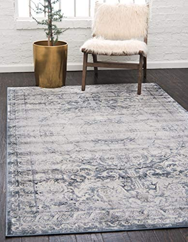 Unique Loom Chateau Collection Distressed Vintage Traditional Textured Dark Blue Area Rug 8 0 x 10 0