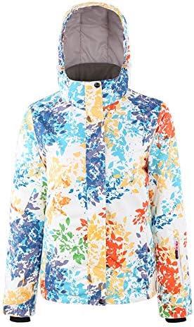 快適なレディース防水マウンテンジャケット防風冬のコートでフードスキースノーボードジャケット 快適で暖かい (Color : Multi-colored, Size : S)