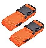 WeBravery Adjustable Luggage Strap Suitcase Belt Bag Straps Travel Accessories (Orange, 2Pack)
