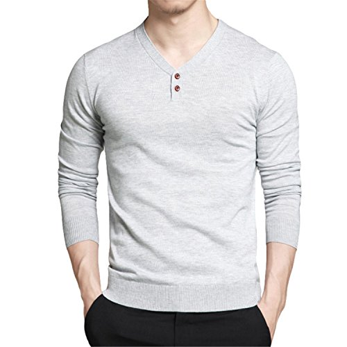 NeeKer Jacket Men Sweaters Combed Cotton V Neck Long Sleeve Knitted Polo Shirts Men Pullovers Autumn M-4XL MULS Gray M