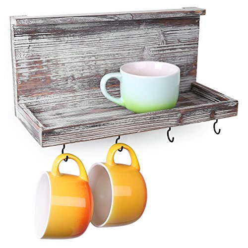 MyGift Torched Barnwood Wall Mounted Floating Shelf with 4 Hooks