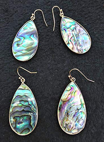 2pcs 18-30mm Genuine Abalone Earrings Silver Plated, Teardrop Drop Checkerboard Flip Flop Abalone with Mother of Pearl,Hoops Ring