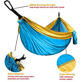 Gold Armour Camping Hammock – Extra Large Double Parachute Hammock (2 Tree Straps 32 Loops,20 ft Included) USA Brand Lightweight Nylon Adults Kids, Camping Accessories Gear
