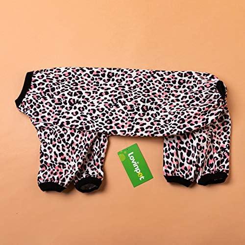 LovinPet - Ropa para perros grandes después de la cirugía / Estampados en rosa neón de guepardo de punto elástico cepillado doble / Protección UV, alivio de la ansiedad de las mascotas, pijama ligero para mascotas / Pijamas para perros de cobertura completa 5