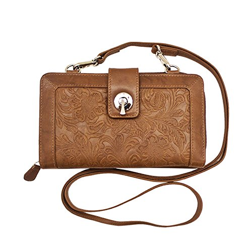 ili Leather 6305 Embossed Smartphone Crossbody Wallet with RFID Lining (Antique - Card Credit Synergy