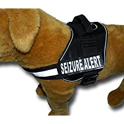 SEIZURE ALERT Nylon Dog Vest Harness. Purchase comes with 2 reflective SEIZURE ALERT removable patches. PLEASE MEASURE your dog before ordering