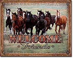 Welcome Friends - Horses Tin Sign 16 X 13in
