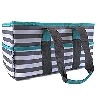 Rush Select Diaper Organizer - Diaper Caddy, Nursery storage bin, Portable bag for car, Baby shower basket, Trendy gray stripes, Changeable Compartments