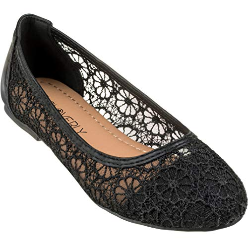 - CLOVERLY Women's Ballet Shoe Floral Breathable Crochet Lace Ballet Flats (6.5 M US, Black)